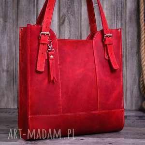 na ramię ręcznie robiona skórzana torebka czerwona, skórzane torby