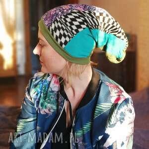 czapki czapka damska szyta patchworkowo etno boho na podszewce, świetna