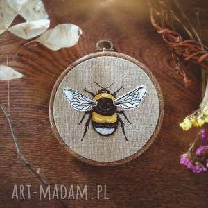 dekoracje obrazek haftowany pszczoła, len, haft, natura