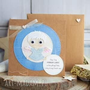 kartka z uroczym aniołkiem stróżem personalizacja treści narodziny roczek
