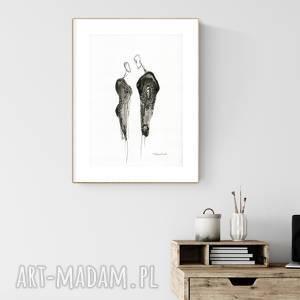 grafika A4 malowana ręcznie, minimalizm, abstrakcja czarno-biała, , minimalizm