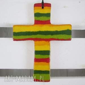 hand-made dekoracje tęczowy krzyżyk ceramiczny