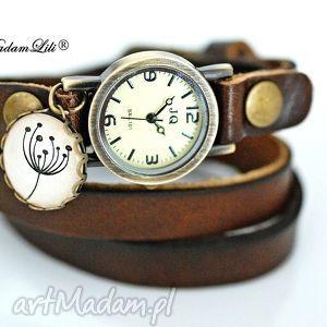 zegarek dmuchawiec skóra, dmuchawiec, zegarek, brązowy, vintage