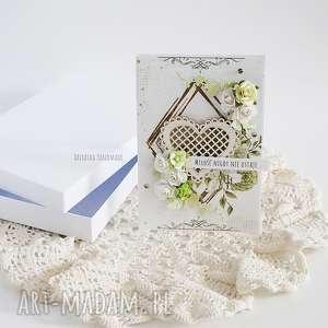 vairatka-handmade kartka ślubna w pudełku 446 - zielone, prezent