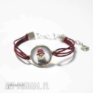 bransoletka - wydra sznureczki, bordo, bransoletka, wydra, dzieci