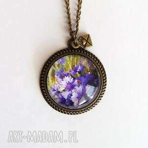 naszyjniki medalion, naszyjnik - fioletowe chabry romantyczny, antyczny brąz