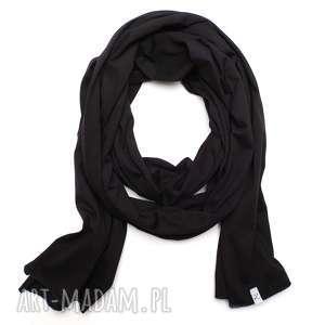 Długi wąski szal szalik bawełniany SKINNY czarny damski wiosenny, modny