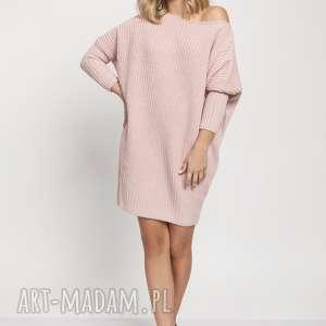 oversizeowa tunika, swe189 róż mkm, sweter, modna, dzianina, mkm