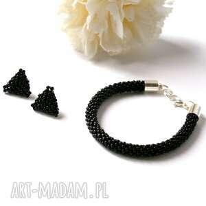 triangle set - komplet biżuterii w czerni, sztyfty, kolczyki, toho