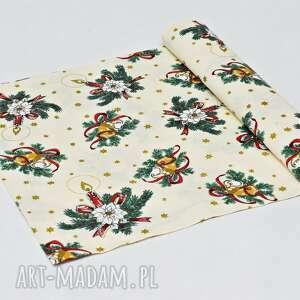 podkładki bieżnik świąteczny bawełniany, ozdoba na stół obrus