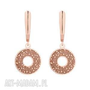 kolczyki z rozetami z różowego złota - wiszące, eleganckie