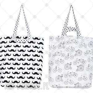 dwustronna torba bawełniana - czarne wąsy na rowerze, torebka, torba, worek
