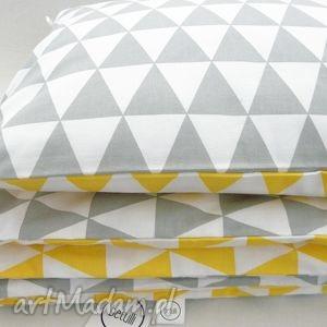 150 x 200 cm pościel scandi trójkąty żółto - szare pościele