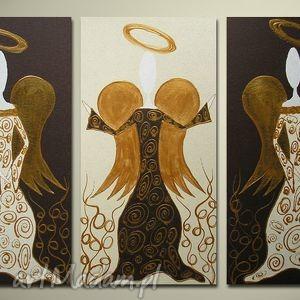 ANIOŁY SZCZĘŚCIA I DOBROBYTU - A15- obraz ręcznie malowany, obraz, płótno, anioł