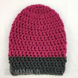 ręcznie robiona czapka szary fuksja 2 hand made, czapka, czapki, szydełko, rękodzieło