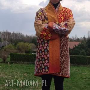 płaszcze płaszcz patchworkowy w stylu boho, długi z kieszeniami, kimonowy