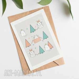 kartki kartka bożonarodzeniowa - koty cardie, świąteczna
