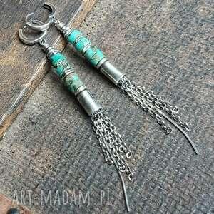 kolczyki ze srebra i turkusu afrykańskiego