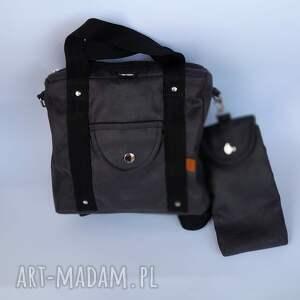 plecak/torebka 2w1 czarny - zamsz, nubuk etui na telefon lub okulary, plecak