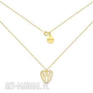 złoty naszyjnik ze skrzydełkami w kształcie serca, naszyjnik, zawieszka, skrzydełka