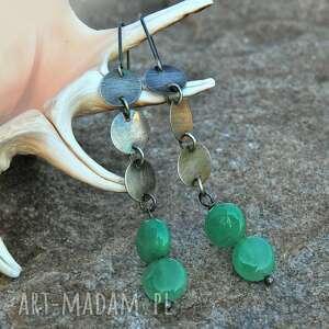 Srebrne kolczyki z zielonymi agatami a113, kolczyki, zagatmi, oksydowane