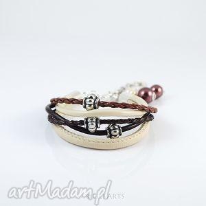 ręcznie wykonane bransoletka - kremowo brązowa rzemienie
