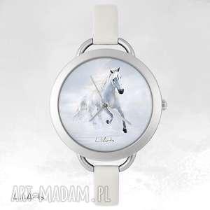 zegarek, bransoletka - biegnący koń, bransoletka, skórzana, unikatowy