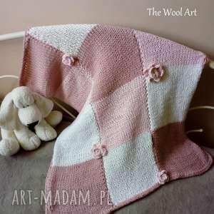the wool art dziecięcy kocyk, dziecko, dzieci, wełniany, na drutach