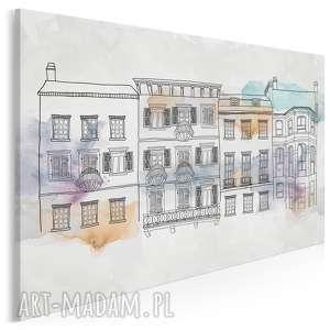 obraz na płótnie - kamienice budynki miasto 120x80 cm 90601, willa, budynek