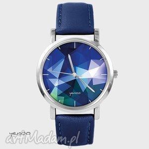 zegarek, bransoletka - geometric granatowy, skórzany
