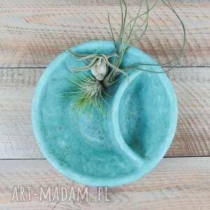 Miska z przedziałkiem miętowa matowa ceramika artlantyda