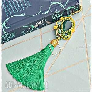 elegancka zakładka sutasz - w złocie i zieleni, zakładka, sutasz, soutache