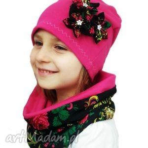 komplet folk - czapka z kominem - kolorowe kominy, dziewczynka