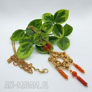 naszyjnik chainmaille ze stali szlachetnej- karneol i jadeit, łapaczsnów