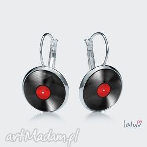 Kolczyki wiszące vinyl laluv muzyka, płtya, adapter, śpiewanie