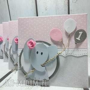 Kartka/zaproszenie z balonikowym słonikiem, słonik, zaproszenie, chrzest, narodziny