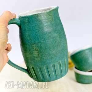 ceramika dzbanek na napoje z morski matowy - dwiema czarkami ok 1 l, dzban