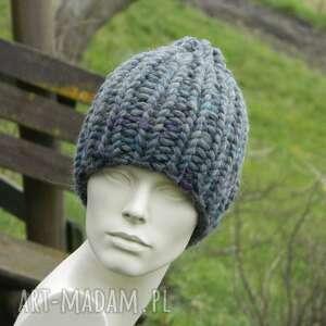 Mega grubas merino alpaca bardzo ciepła zimowa czapka szary