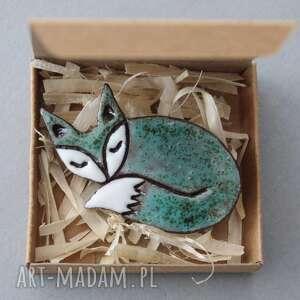 pod choinkę prezent, lisek-broszka ceramiczna, minimalizm, design, skandynawski