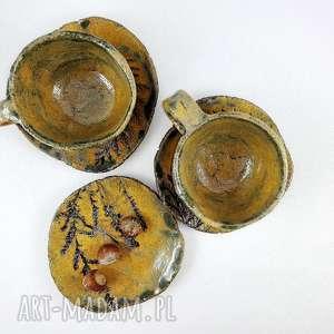 handmade ceramika filiżanki 2 szt. I talerzyk
