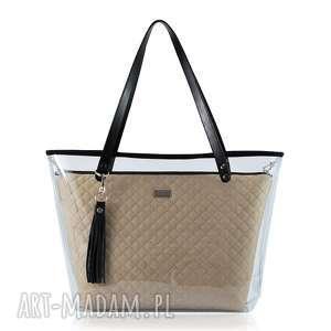 torebka delise 2w1 1297 ciemny beż, kobieca, folia, pikowana, skórzana torebki
