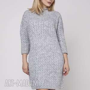 ręcznie wykonane swetry dzianinowa sukienka, suk006 szary mkm