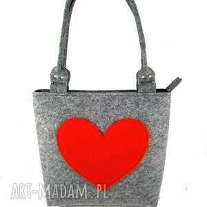 Gray and red heart - ,torebka,serce,