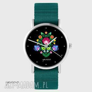 zegarki zegarek yenoo - folkowy, czarny morski, nato, zegarek, pasek, nato