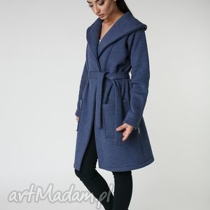 płaszcz z ciepłym kołnierzem jeansowy s-m 36 38, płaszcz, długi, granat, jesień