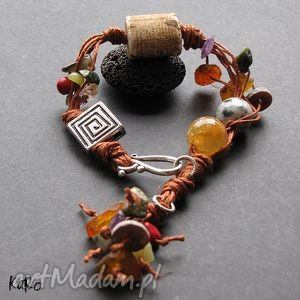 karo s bransoletka rudy len, ceramika, bursztyny i kamienie, lniana, folk, ruda