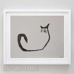 kot abstrakcja -praca formatu a5, abstrakcja, papier, tusz, kot, akwarela