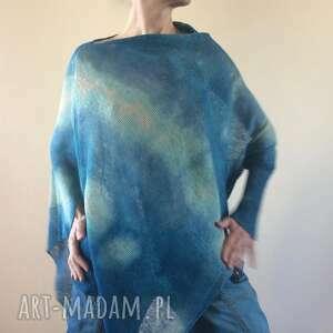 asymetryczna lniana bluzka w turkusie, bluzka, ponczo, sweter, len