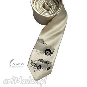 krawaty krawat z nadrukiem - trabant, krawat, nadruk, preazent, ecru