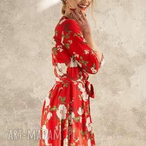 sukienki kopertowa sukienka w kwiaty, sukienka, midi, kopertowa, elegancka